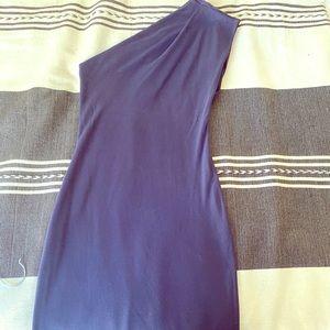 Navy blue American Apparel one shoulder mini dress